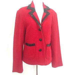 80s Felted Wool Snakeskin Sweater Blazer L